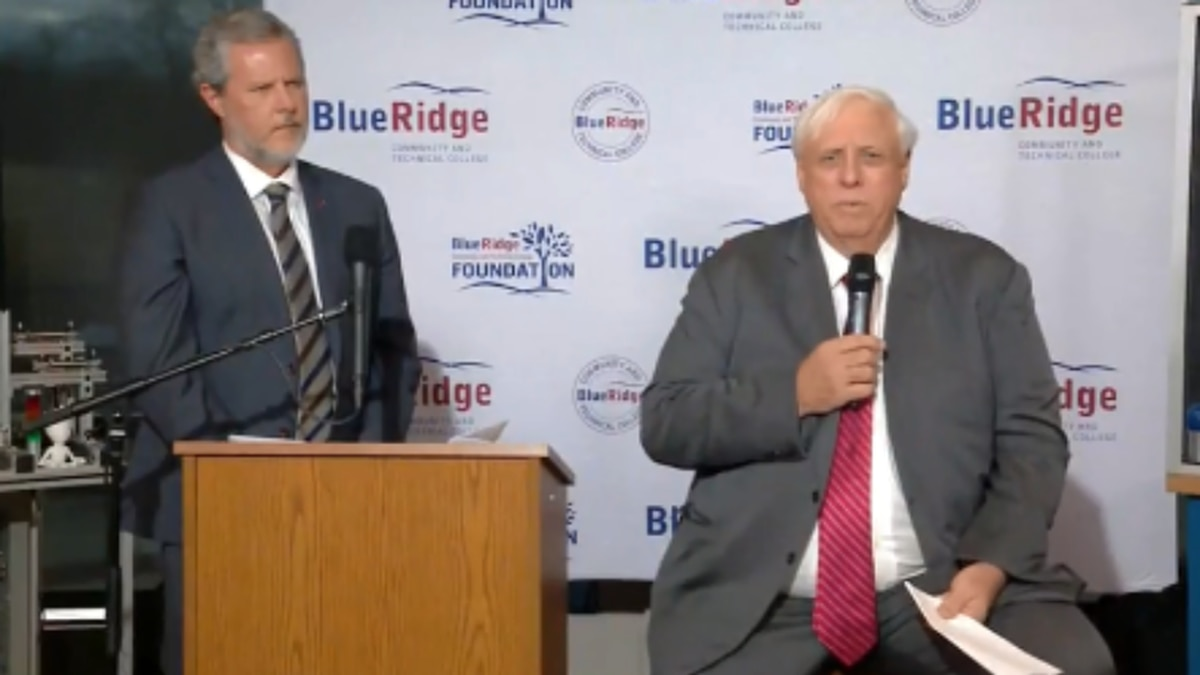 WDBJ7 photo from news conference between Liberty University President Jerry Falwell Jr. (L) and West Virginia Governor Jim Justice (R)