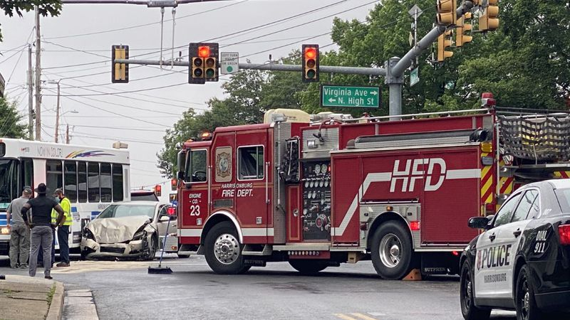 A crash involving five people happened at the intersection of North High St. and West Gay St.