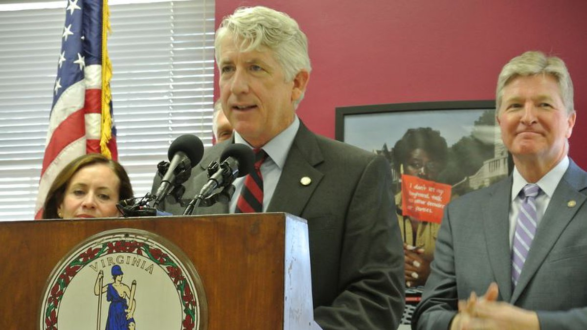 Attorney General Mark Herring speaking to an audience on April 17, 2019.