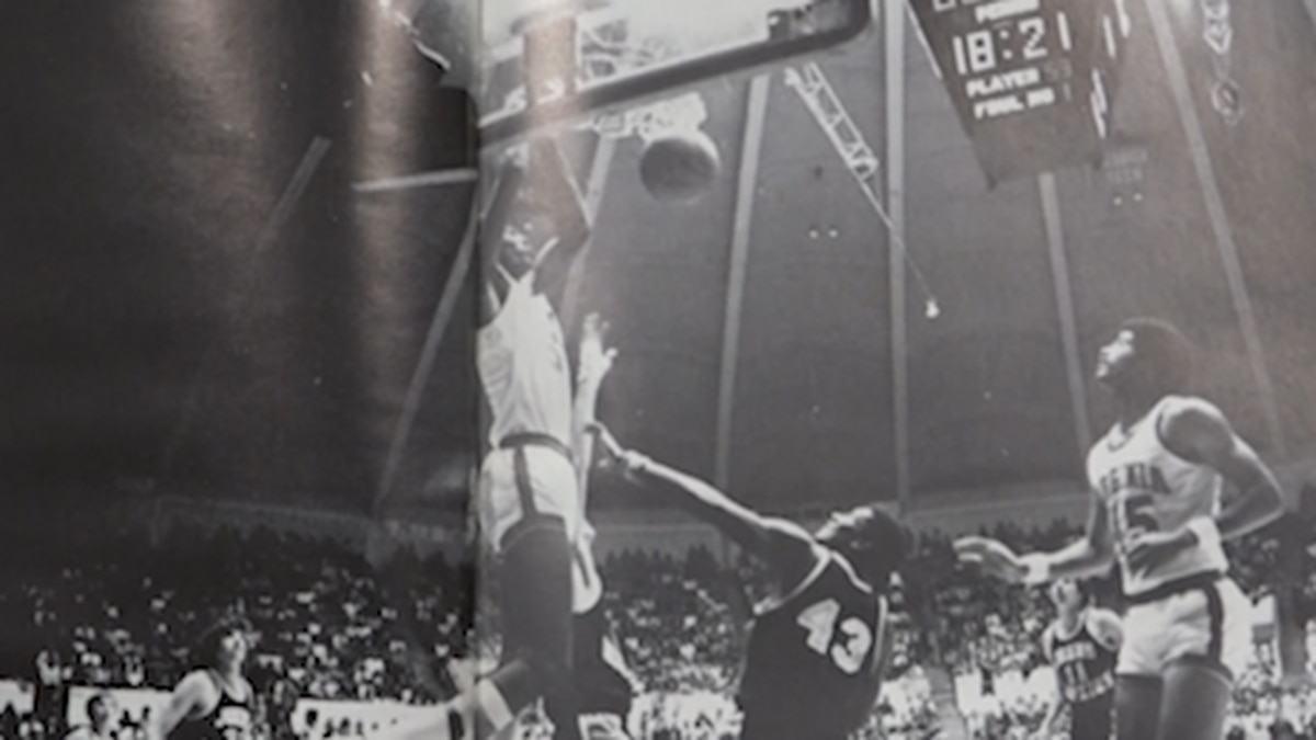 Ralph Sampson rises for a dunk during his college days at UVA.
