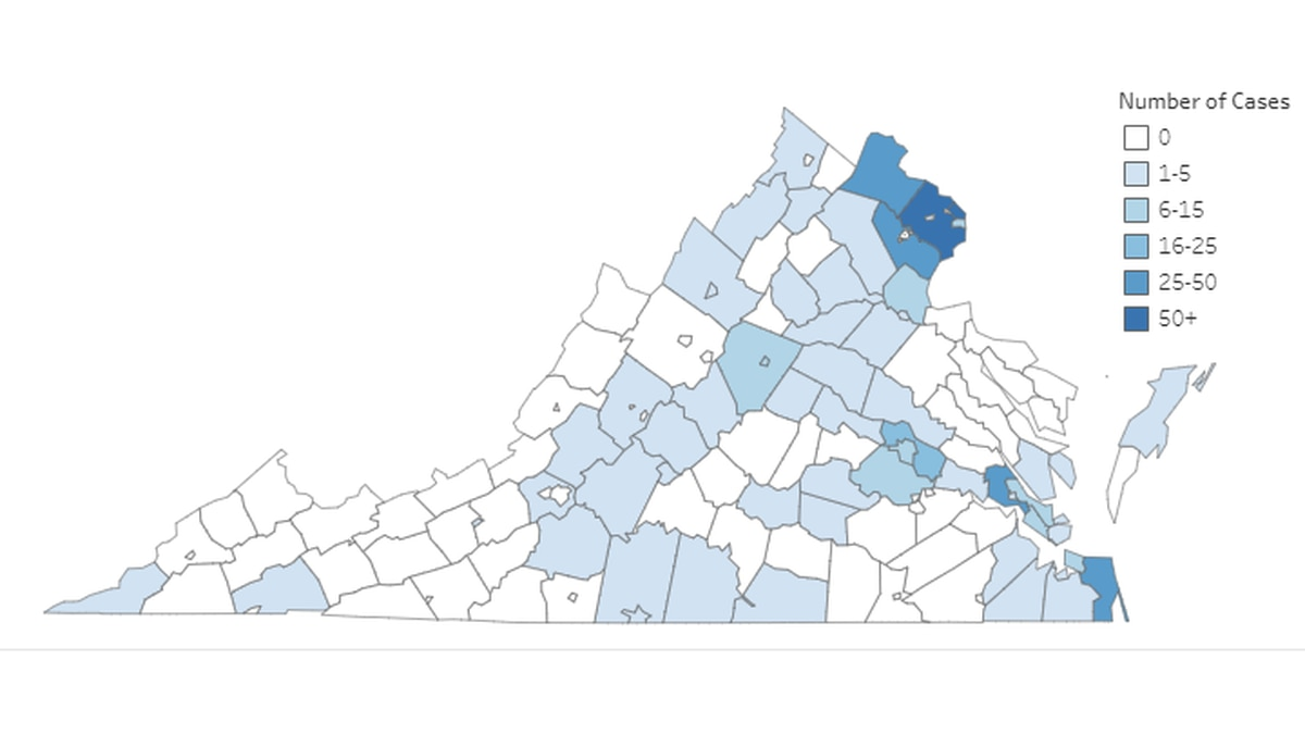 Virginia Department of Health graphic as of noon on March 26