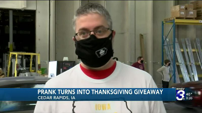 Prank turns into a thanksgiving giveaway