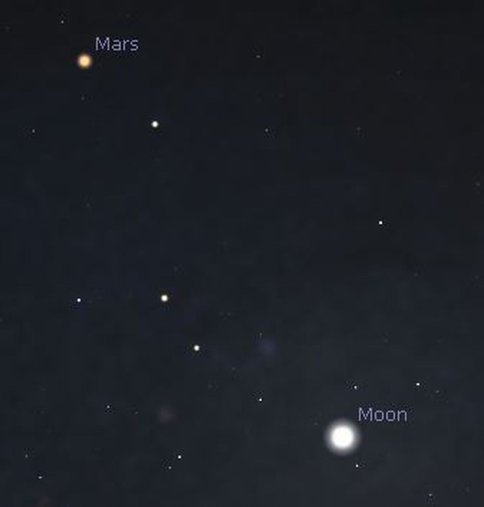 Just after sunset Saturday, the moon will be to the lower right of Mars.