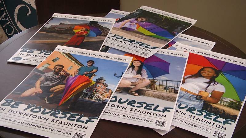 The Staunton Downtown Development Association is selling brightly colored umbrellas for the 'Be...