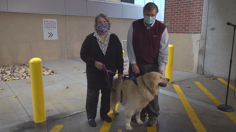 Dwight and Sylvia Shelton took their dog Sandy to the new center.