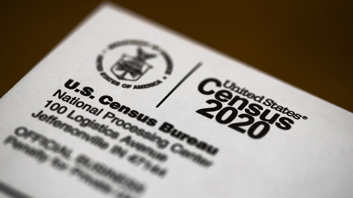 This March 19, 2020 file photo shows an envelope containing a 2020 census letter mailed to a U.S. resident, in Glenside, Pa. (AP Photo/Matt Rourke, File)