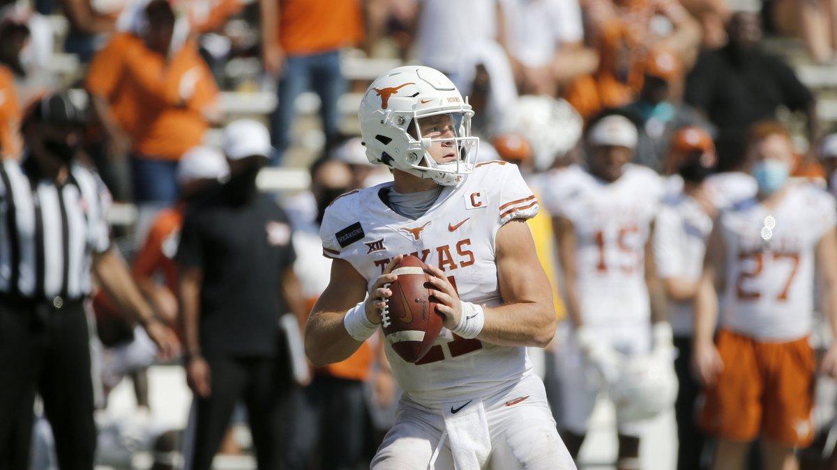Texas quarterback Sam Ehlinger (11) prepares to throw a pass against Oklahoma during the second...