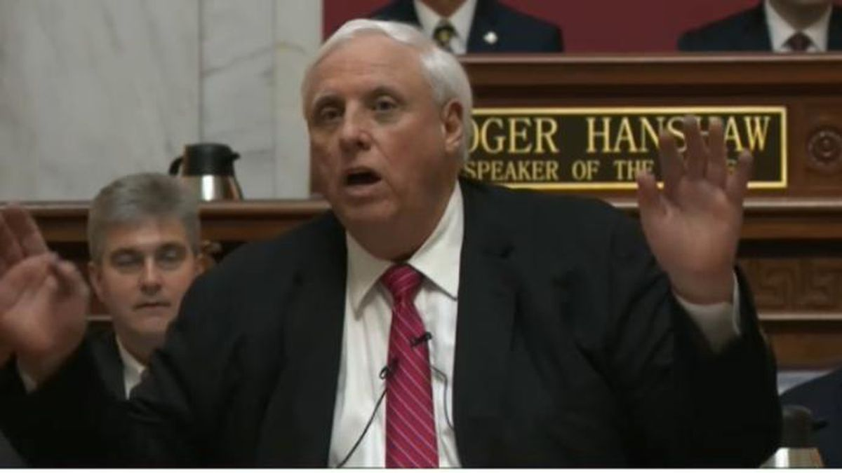 Gov. Jim Justice delivering the 2020 State of the State. | Credit: WSAZ