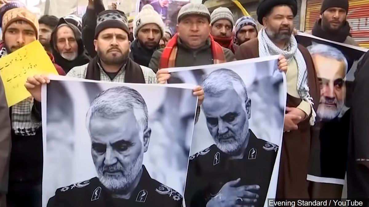 Protest after Iran's General Qasem Soleimani Killed in Kashmir | Photo: Evening Standard / YouTube