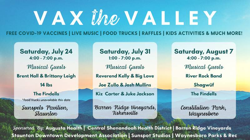 Vax the Valley music series in Staunton, Waynesboro, and Augusta County.