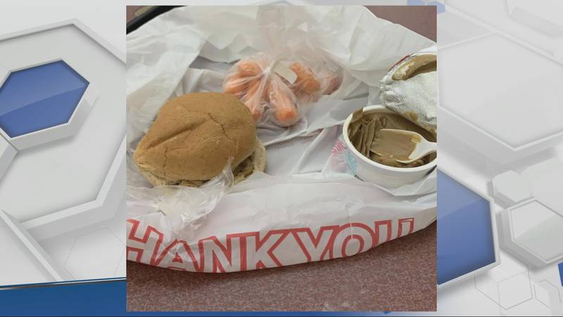 Image of a lunch meal handed out Tuesday sent in by a parent to WHSV.
