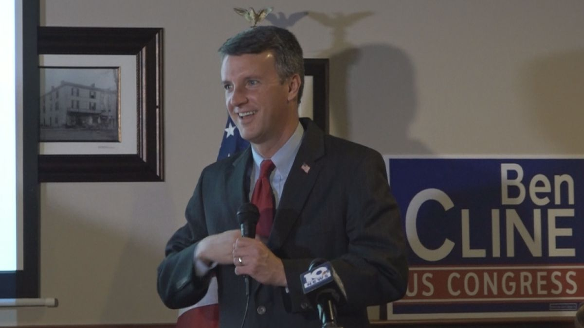 Rep. Ben Cline thanked his family and supporters at a victory party in Harrisonburg.