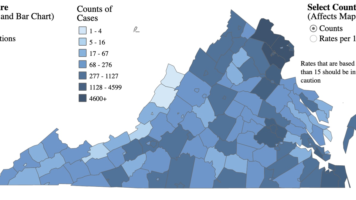 Map of COVID-19 cases in Virginia as of August 2, 2020.