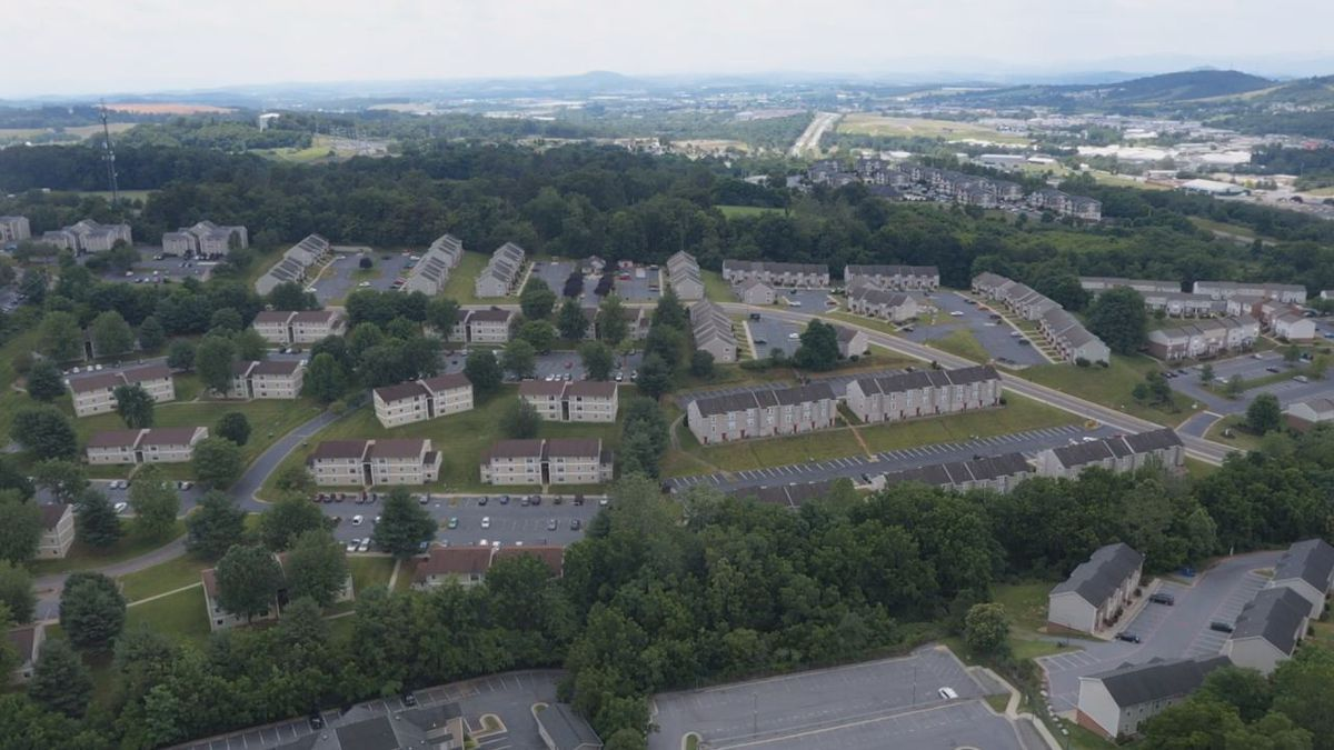 Arial view of Harrisonburg apartments