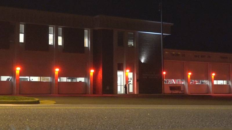 Harrisonburg Fire Dept. honors fallen firefighters by illuminating fire stations in red