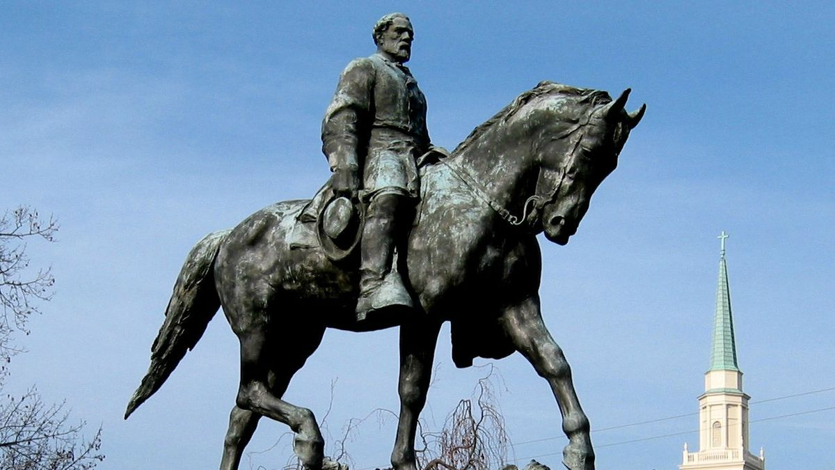 A statue of Robert E. Lee stands in Charlottesville, Virginia.