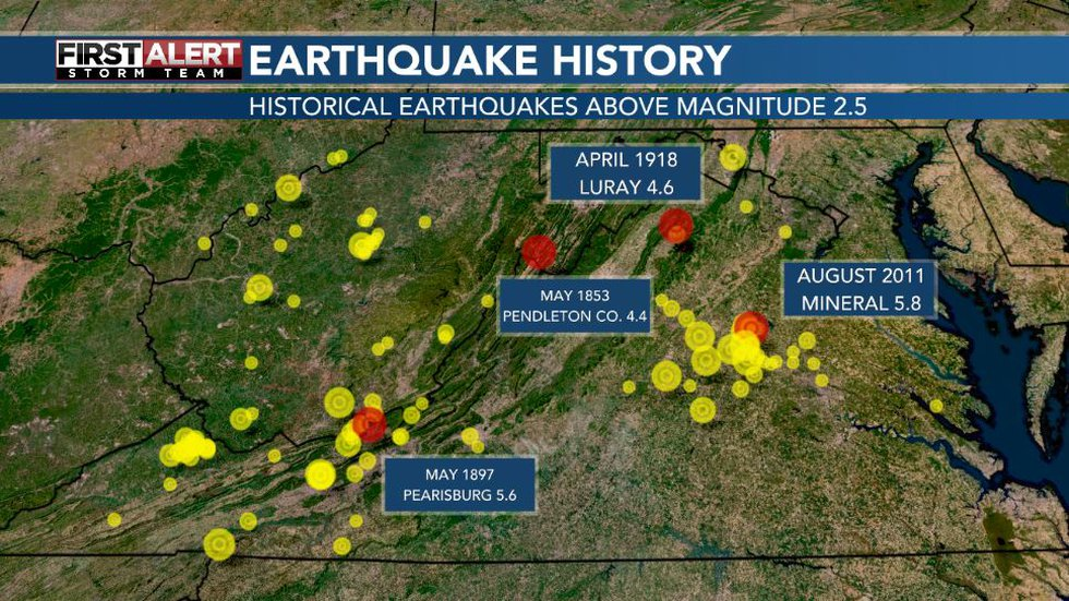 Earthquakes of Virginia and West Virginia