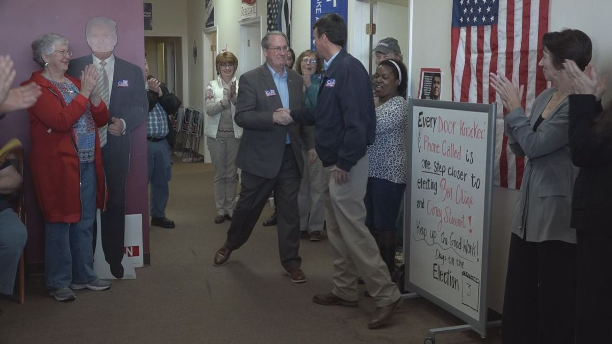 Goodlatte introduces Ben Cline to the applause of the crowd at the GOP headquarters.