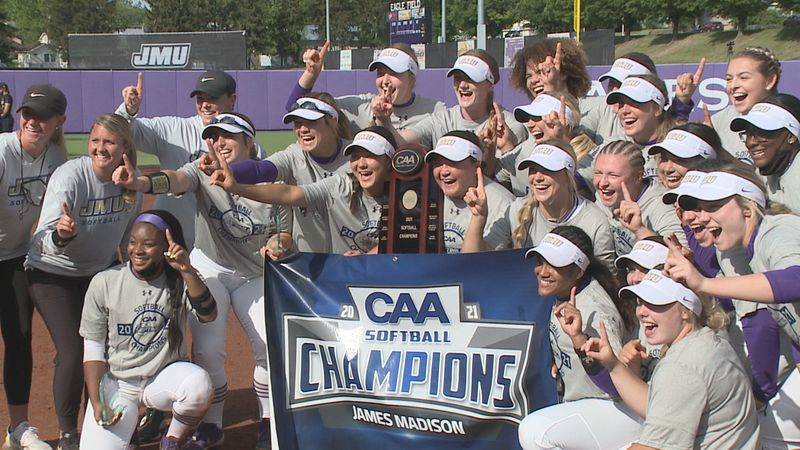 The James Madison softball team claimed the 2021 CAA Championship with a 17-0 win over Delaware...