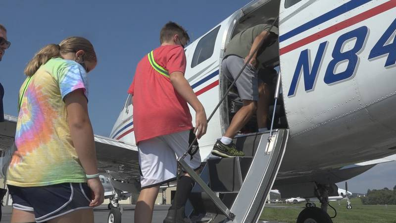 After learning how airplane mechanics work, students had the chance to take a flight.