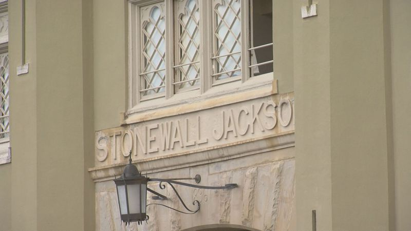 The engraving over Jackson Arch in VMI's Old Barracks.