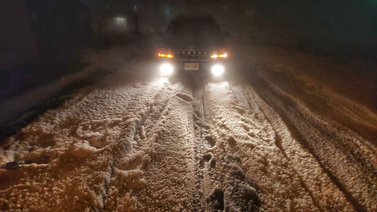 Photo of hail along a road in Craigsville at 10 p.m. on April 7 | Submitted to WHSV by Dezy Morris