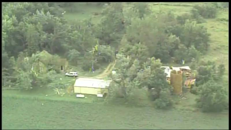 There were snapped trees and damage to structures