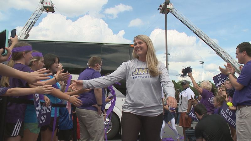 The James Madison softball team received a warm and loud welcome home Tuesday in Harrisonburg.