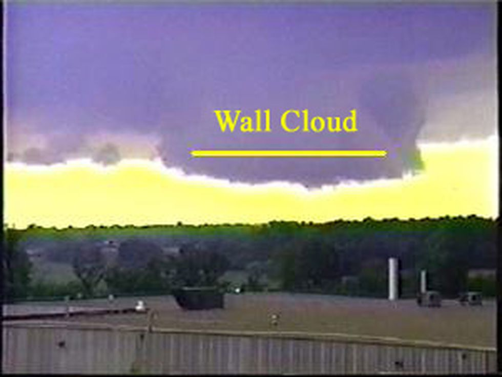 The wall cloud is the sudden lowering of part of the storm cloud