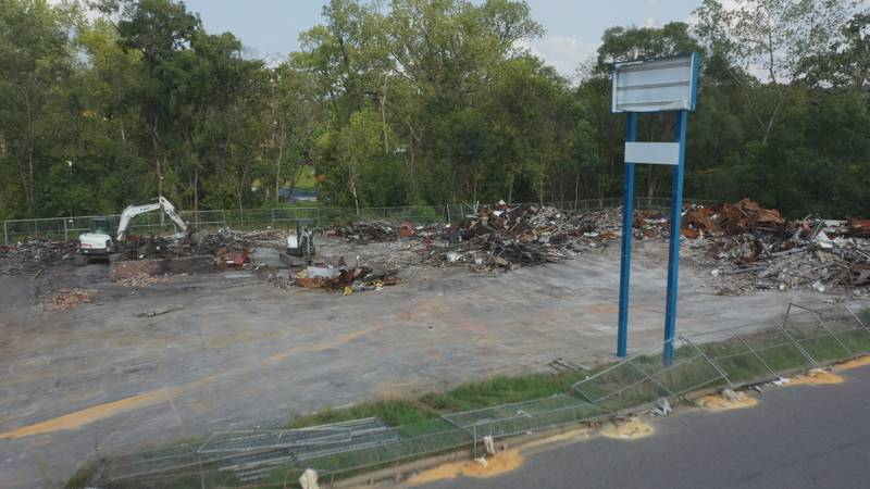 View from Air-3 as crews begin to remove debris from the site.