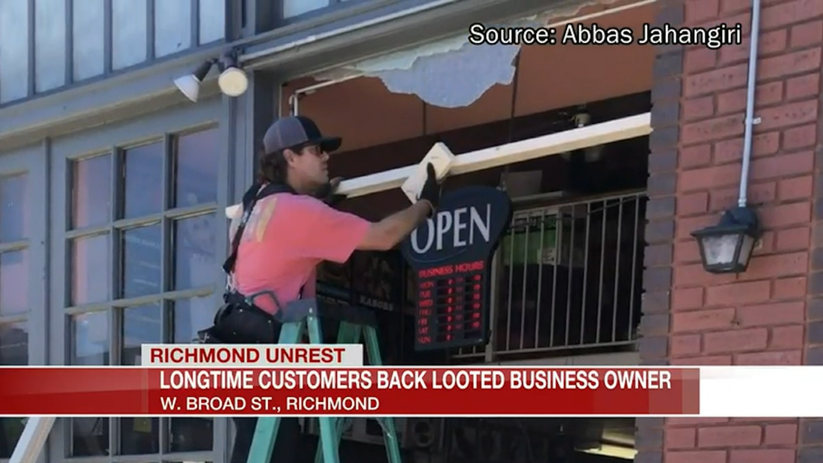 Longtime customers back looted business owner