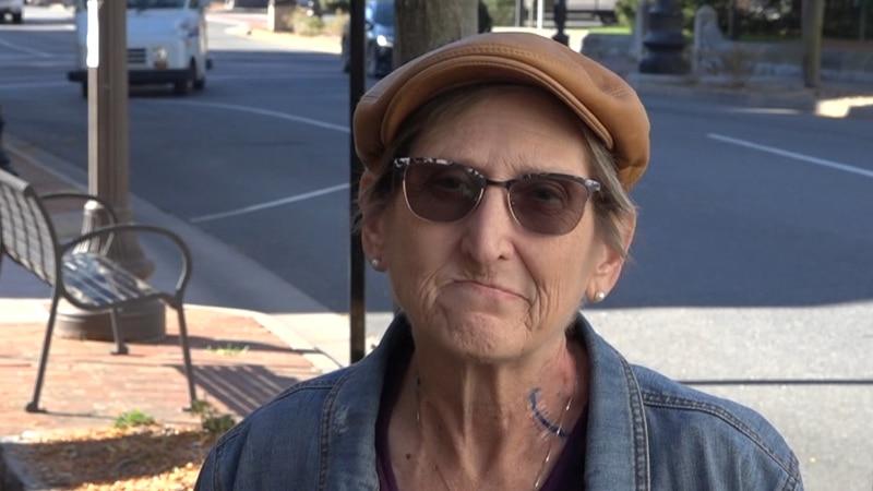 Rebecca Schlaegel in downtown Harrisonburg.