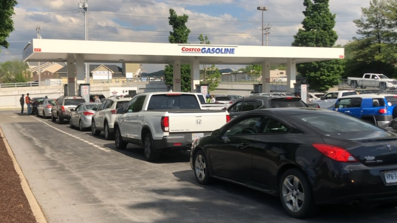 Many drivers lined up for gas at Costco in Harrisonburg on May 11.
