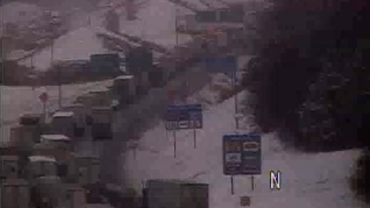 A VDOT traffic camera shows the backup from a crash at MM 220 of Interstate 81 at 12:22 p.m. on Feb. 20, 2019.