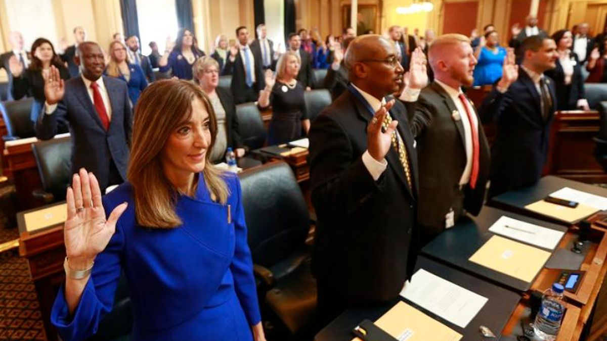 Virginia House of Delegates, Speaker Eileen Filler-Corn, D-Fairfax, takes the oath of office during opening ceremonies of the 2020 Virginia General Assembly at the Capitol in Richmond, Va., Wednesday, Jan. 8, 2020. Filler-Corn is the first woman to hold the position. (AP Photo/Steve Helber)