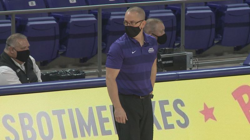 The James Madison women's basketball team is practicing and preparing to play without head...