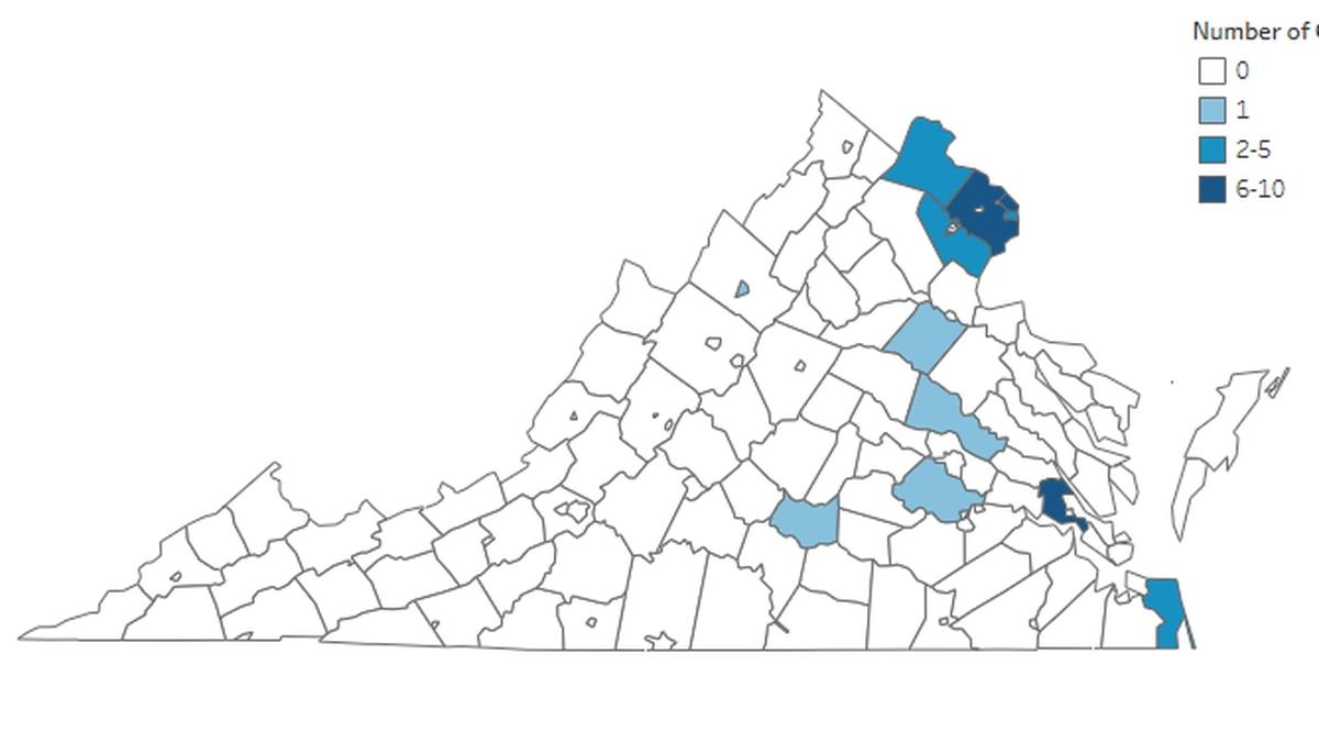 Presumptive positive cases of coronavirus in Virginia as of March 25, 2020.