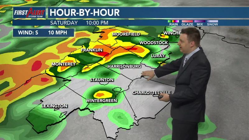 Moderate to heavy rain expected clearing out by Sunday morning