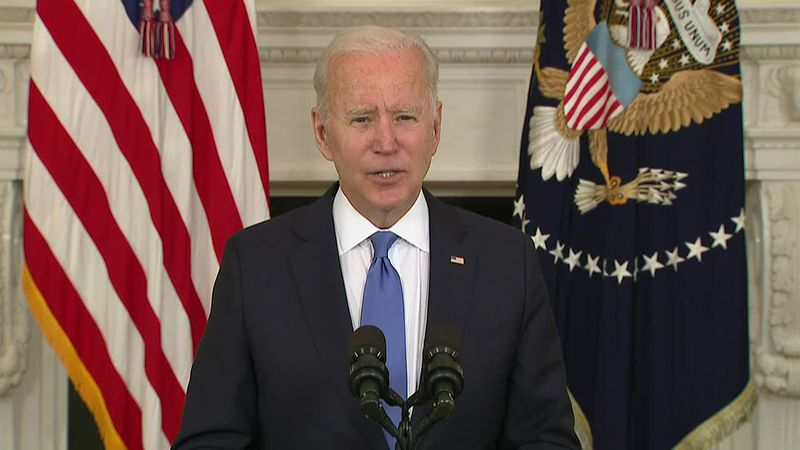 President Joe Biden gives update on the implementation of $1.9 trillion COVID-19 relief package.