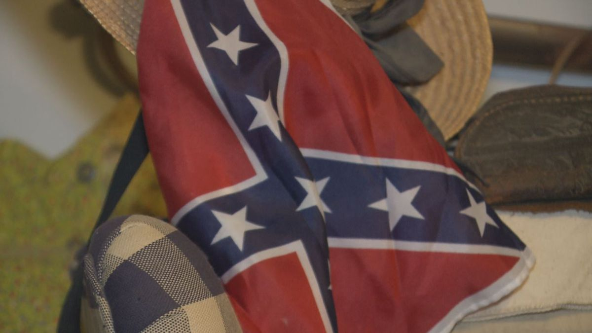 Camp Number 10 of the Sons of the Confederate Veterans has been placing flags like this about three times a year on people's graves for 15 years at Woodbine Cemetery.