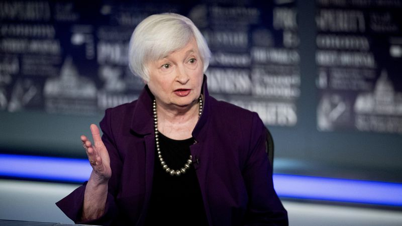 FILE - In this Aug. 14, 2019 file photo, former Fed Chair Janet Yellen speaks with FOX Business...