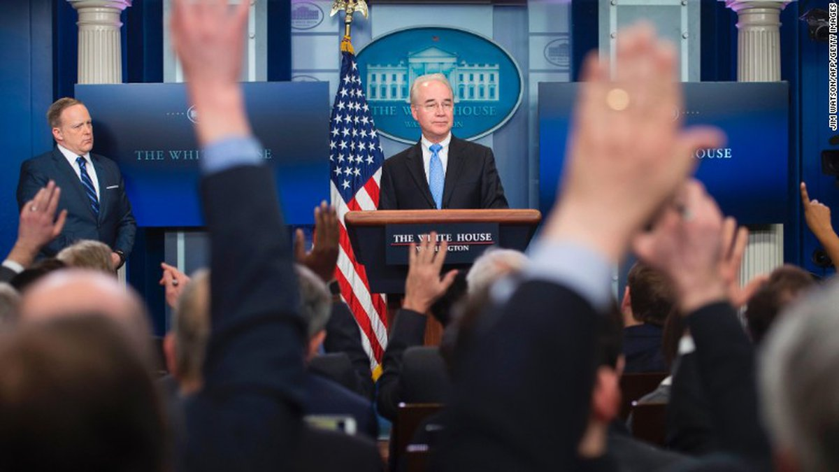 Health and Human Services Secretary Tom Price speaks during a news conference on Capitol Hill...