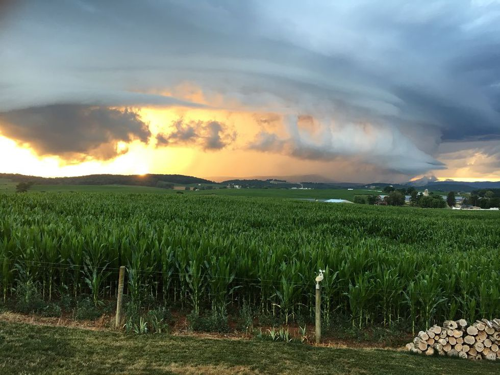 Impressive storm clouds rolled in just in time for sunset in the Shenandoah Valley.