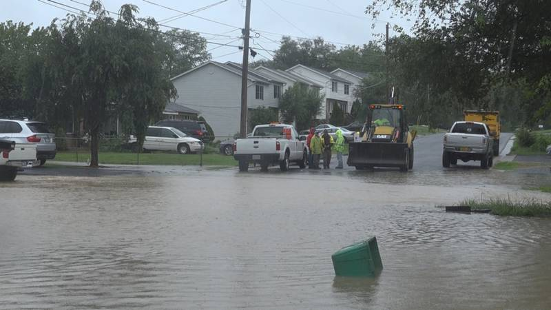 The storm drain in this neighborhood off of Jefferson St. was blocked by an inflatable pool.