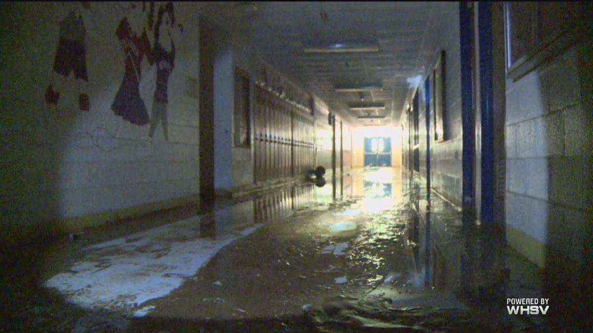 Inside flood-ruined high school - courtesy WSAZ