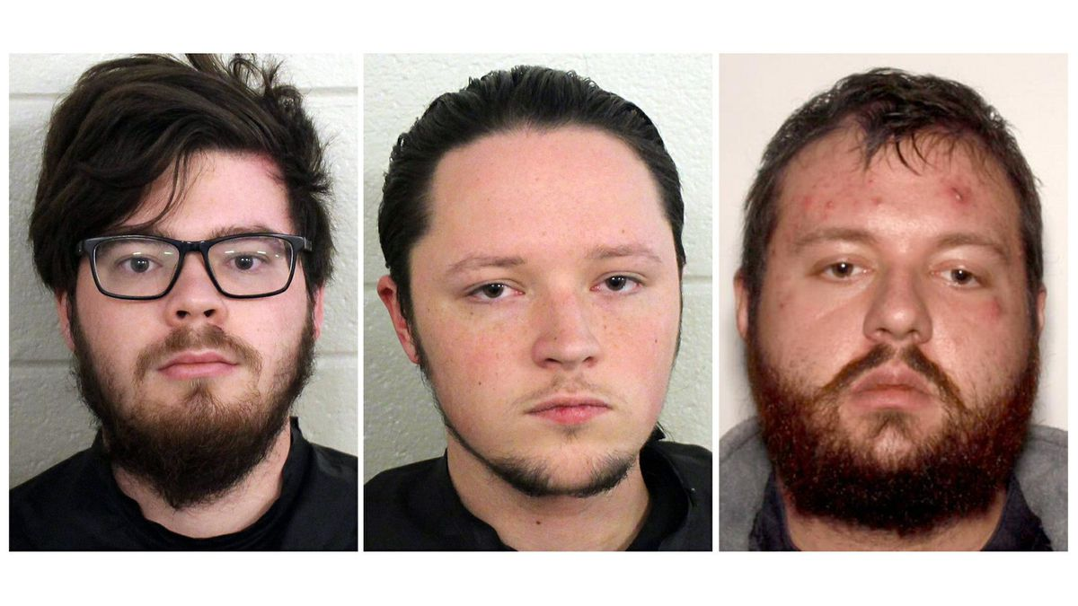 These undated photos provided by Floyd County, Ga., Police show from left, Luke Austin Lane of Floyd County, Jacob Kaderli of Dacula, and Michael Helterbrand of Dalton, Ga. FBI spokesman Kevin Rowson said Friday, Jan 20, 2020, that agents assisted in the arrests of the three Georgia men linked to The Base, a violent white supremacist group, on charges of conspiracy to commit murder and participating in a criminal street gang. Details of their cases have been sealed by a judge, Floyd County police Sgt. Chris Fincher said. (Floyd County Police via AP)