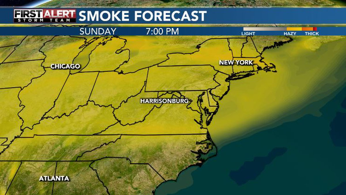 Haze will look to move into the area and be thick at times Sunday.
