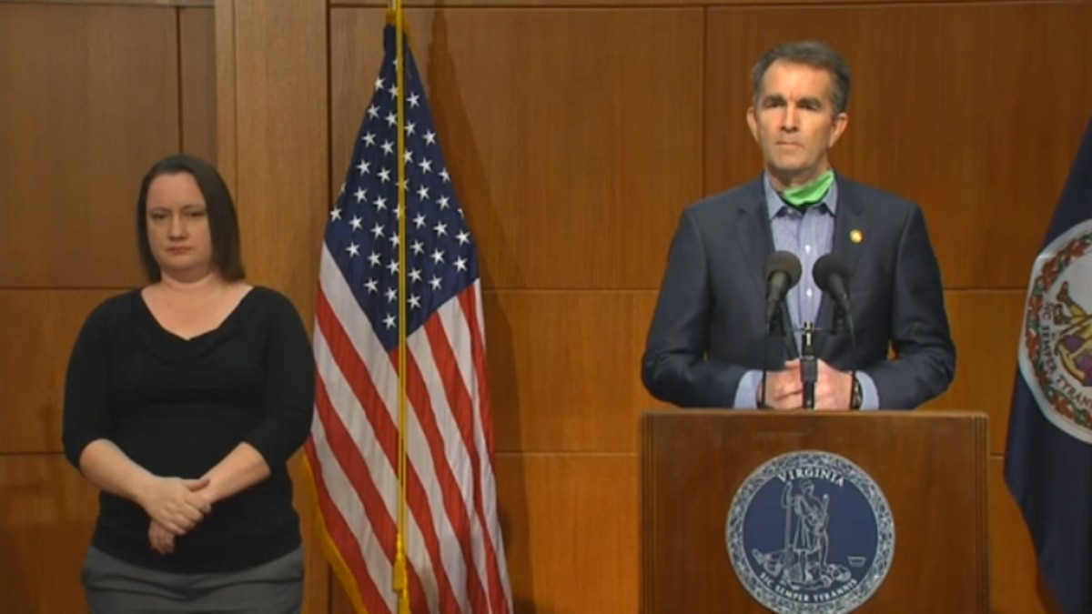 Virginia Governor Ralph Northam at a May 6 briefing on COVID-19