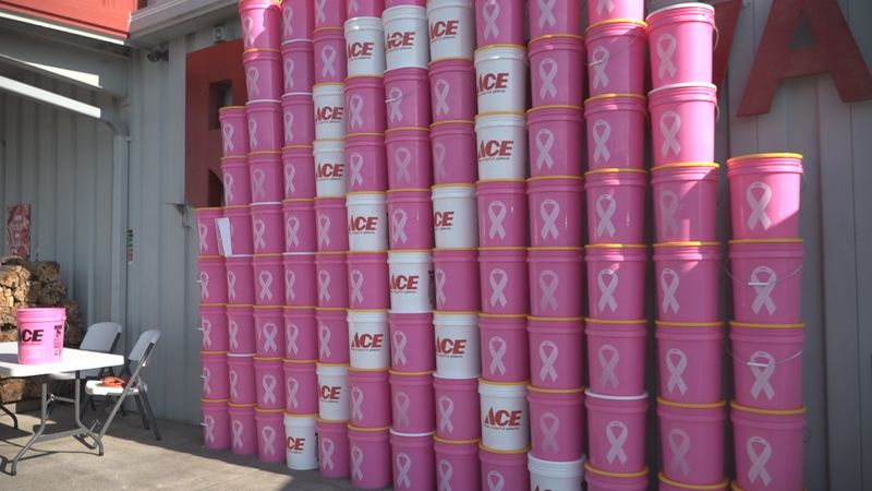 People can find the pink buckets at Ace Hardware and Rockingham Cooperative locations in...