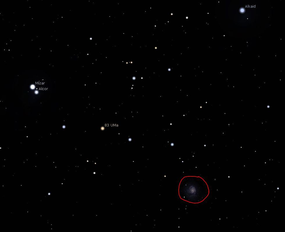 Saturday overnight the Pinwheel galaxy will be visible (circled in red). The Whirpool galaxy...